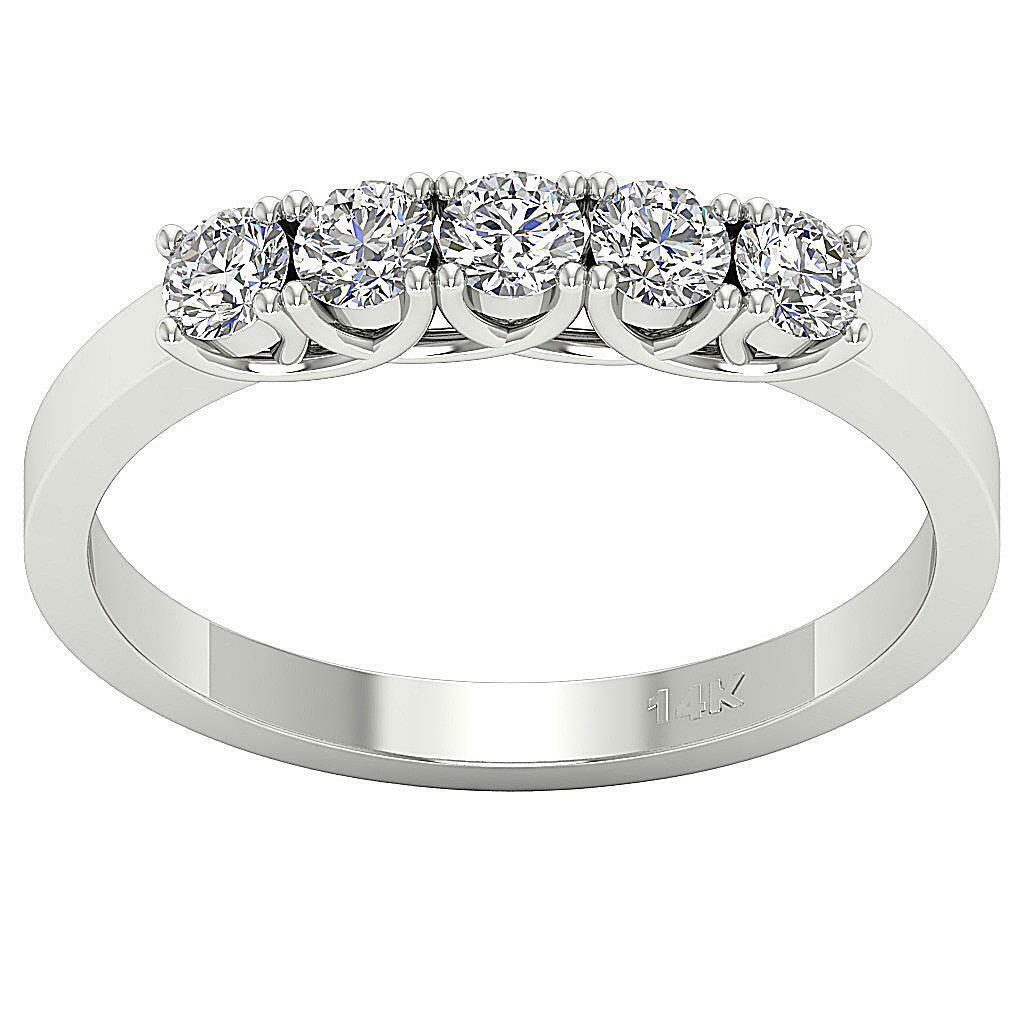 5 Stone Anniversary Ring I1 G 0.75 Ct Round Diamond 14K White Yellow pink gold