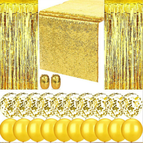 Party Decoration Set Table Runner Foil Curtain Confetti Riband Chic Balloon Set/_