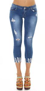 Jeans Denim Ladies Skinny 7/8 Jeans Used Look Push-Up