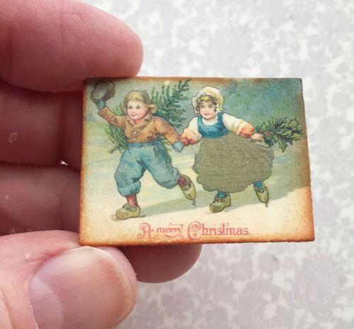 Dollhouse miniature Christmas Children DUTCH antique postcard 1:12 vintage tin