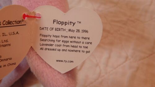 Floppity the Bunny Fast Shipping 1996 Ty Beanie  Baby  MWMT Purple
