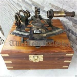Nautical-Brass-Collectible-Antique-Working-German-Marine-Sextant-w-Wooden-Box