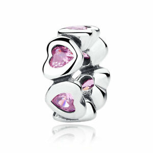 Sparkling-Pink-Hearts-Spacer-Charm-Bead-Genuine-100-925-Sterling-Silver-Pandora