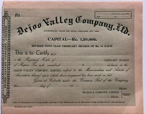 Dejoo-Valley-Company-gt-Calcutta-India-stock-certificate