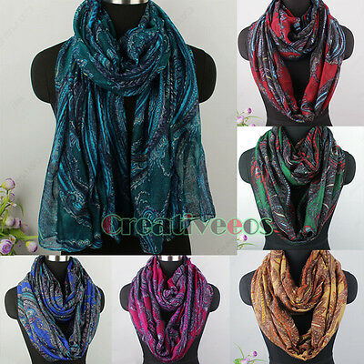 Womens Vintage Scarves Paisley Vines Painting Print Soft Long/Infinity Scarf New