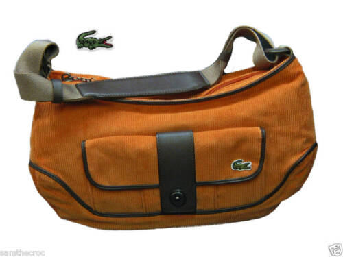 New Vintage LACOSTE Womens Ladies Corduroy HOBO Shoulder Bag Fashion 1 Orange