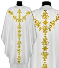 White Gothic Chasuble with stole GY651-B25 Vestment Casulla Blanca Weiss Kasel