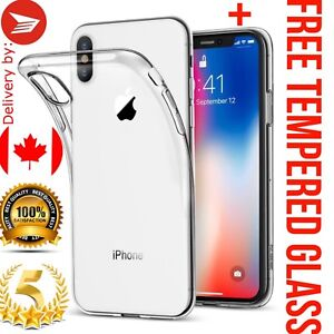 For iPhone XR 6.1 inch Case Clear GEL TPU Plus Tempered Glass Screen Protector
