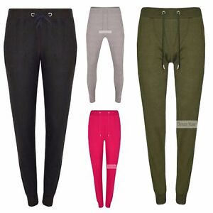 New-Women-039-s-Plain-Slim-Fit-Casual-Jersey-Jogging-Bottoms-Lounge-Sports-Trousers