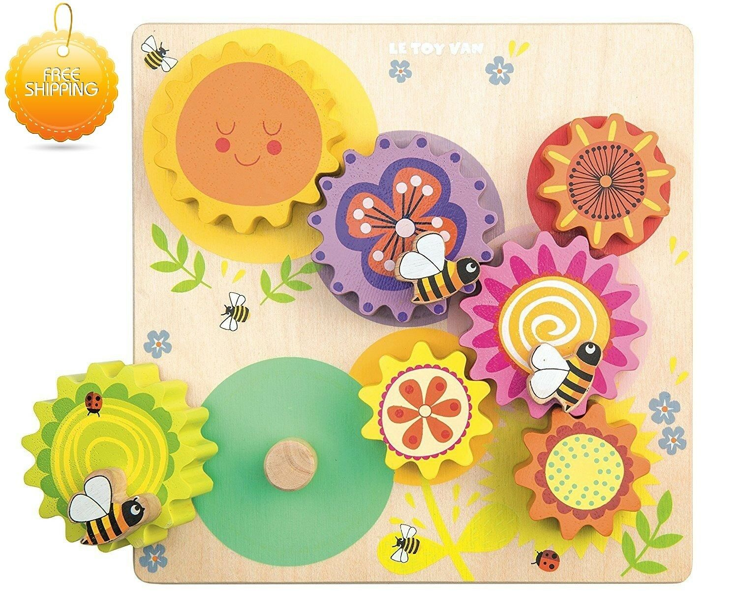 Autism Sensory Toys Gears and Cogs Wooden Set Busy Bee Toddlers Kids ADHD UK