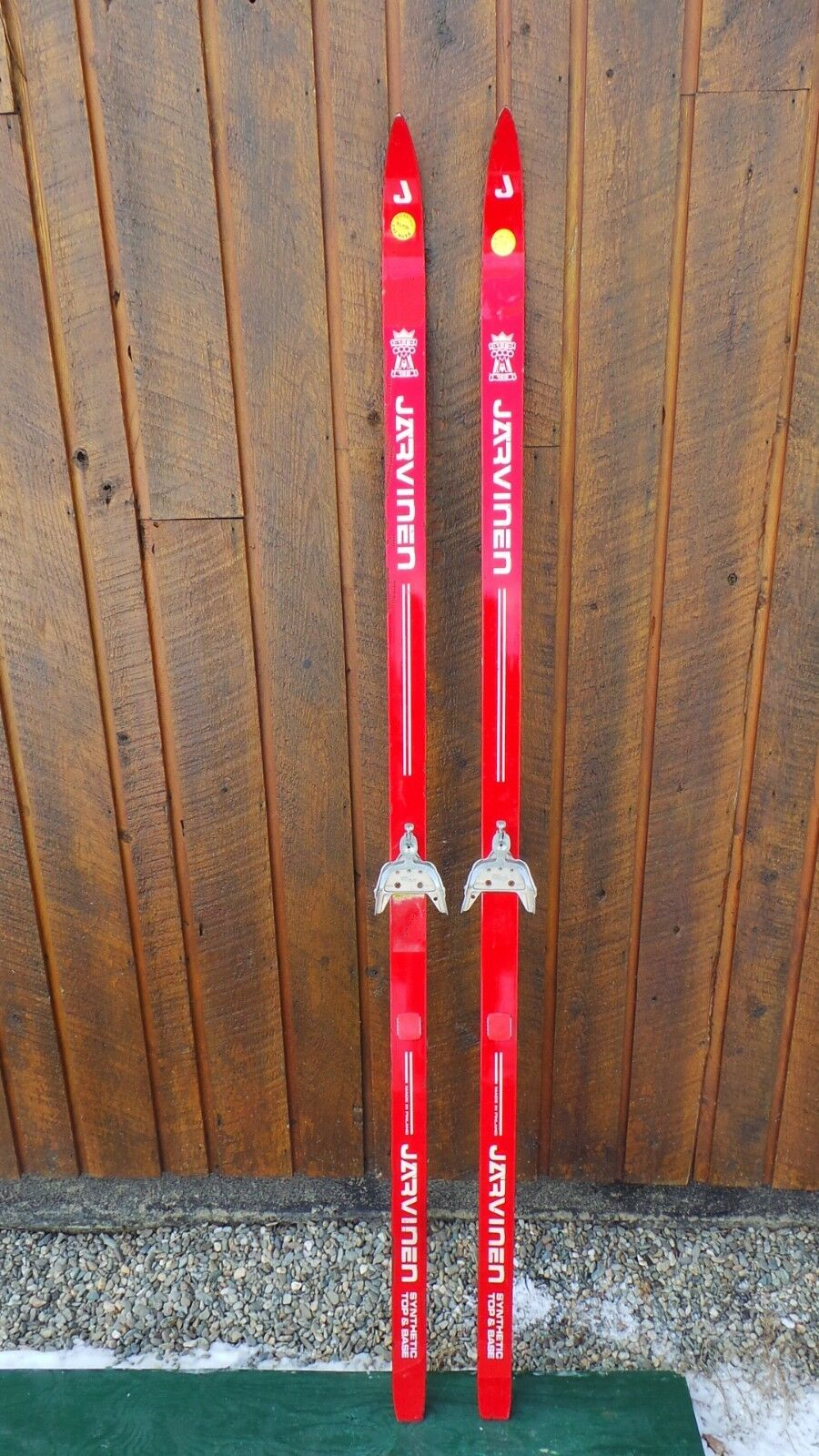 VINTAGE Wooden 73  RED Finish Skis Signed  JARVINEN  low price