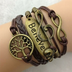 Brown-Infinity-Antique-Copper-Charm-Leather-Skull-Music-Believe-Bracelet-OQPTH