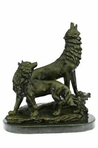 Father`s Day Special Two Wolf Wolves Art Deco Hot Cast Bronze Sculpture Sale Art