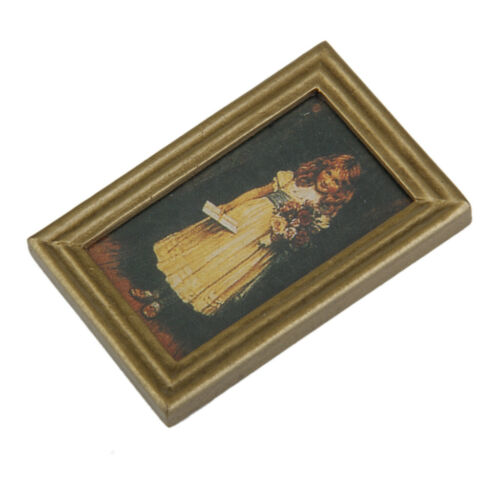 Cute Girl Mural Wall Painting with Resin Frame 1:12 Dollhouse Miniature
