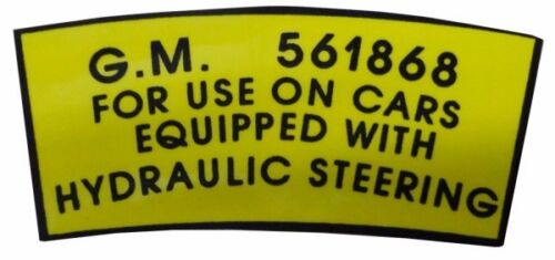 POWER STEERING PUMP PULLEY DECAL STICKE DB0052 1952 1953 1954 BUICK ALL MODELS