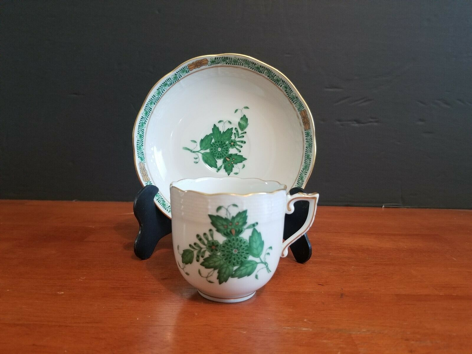 Herend Hungary Green Chinese Bouquet Trio Cup And Saucer Dessert Plate
