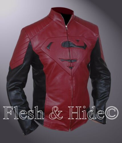 Man of Steel Superman Smallville Tom Welling Padded Embossed Emblem Jacket