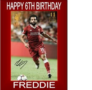 PERSONALISED Mo Salah  A5 Birthday Card ANY NAME AGE OCCASION GREETING