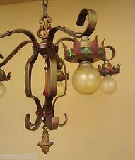 Vintage Lighting 1920s chandelier original polychrome