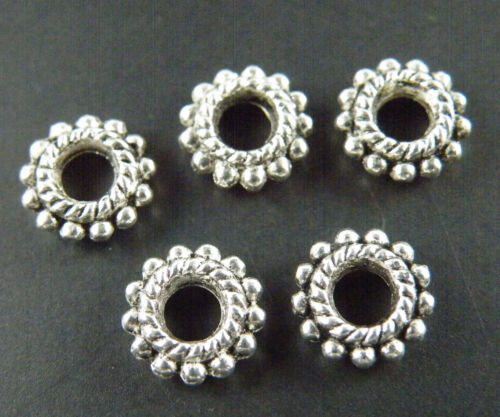 200 Tibetan Silver//Gold Color Daisy Beads 8x2.5mm 830