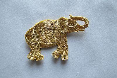 Gold Animal Giraffe,Elephant,Rhinoceros Embroidery Iron On Applique Patch