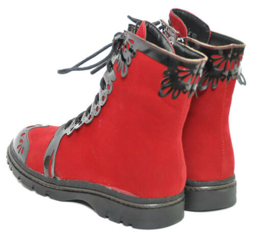 N Boot Inamagura Black Budapester Red Gothic Samt Rockabilly Schnürstiefel a5xwqZA