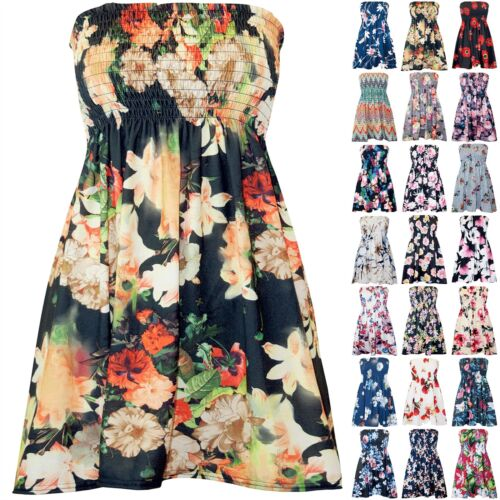Plus Size Womens Ladies Sheering Floral Ruched Sleeveless Bandeau Boobtube Top