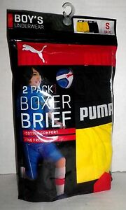 NWT PUMA Youth Boys 2 Pack Cotton Boxer Briefs Underwear Black Yellow Size S 6-7