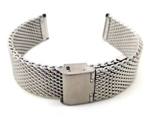 Stainless Steel Watch Strap Shark Mesh Chainmail Mens Bracelet Size 18/20/22mm