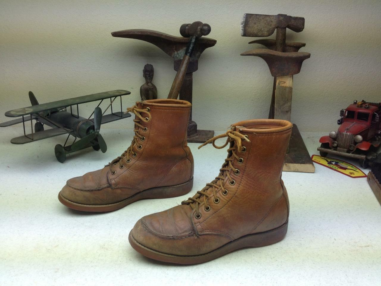 VINTAGE MADE IN USA AMBER DISTRESSED ENGINEER WORK CHORE PACKER BOOTS SIZE 4-6 M