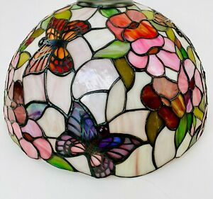 Tiffany-Style-Lamp-Shade-Butterfly-Stained-Glass-Floral-Shade