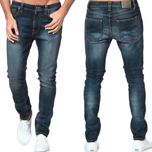 Nudie-Herren-Slim-Fit-Roehren-Stretch-Jeans-Hose-Blau-Lean-Dean-Peel-Blue