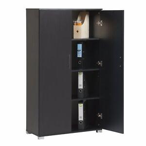 Image Is Loading Black Wooden Storage Cupboard Office Furniture 2 Door