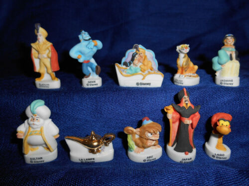 ALADDIN Set of 10 Mini Matte Porcelain Figurines FRENCH FEVES Figures DISNEY WD