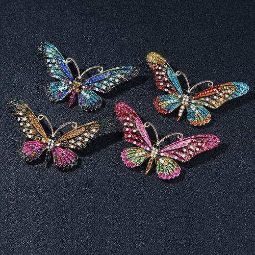 Schmetterling Tier Kristall Strass Brosche Pins Frauen Schmuck Geschenk Bo sgBCD