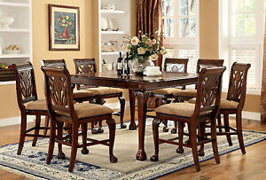 Traditional Dining Room Set Claw Feet Table Counter Height Chairs 9pc Dining Set