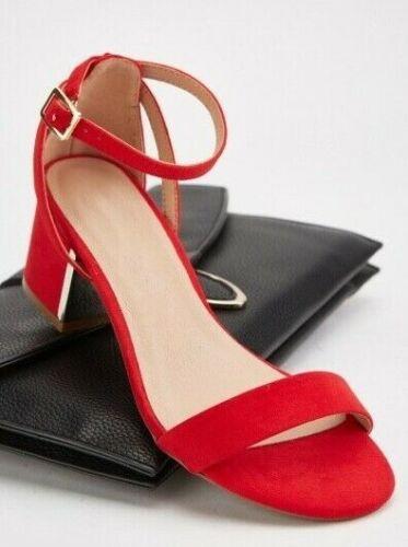 Womens Red Black New Look Wide Fit Metal Low Block Heels Sandals Sizes