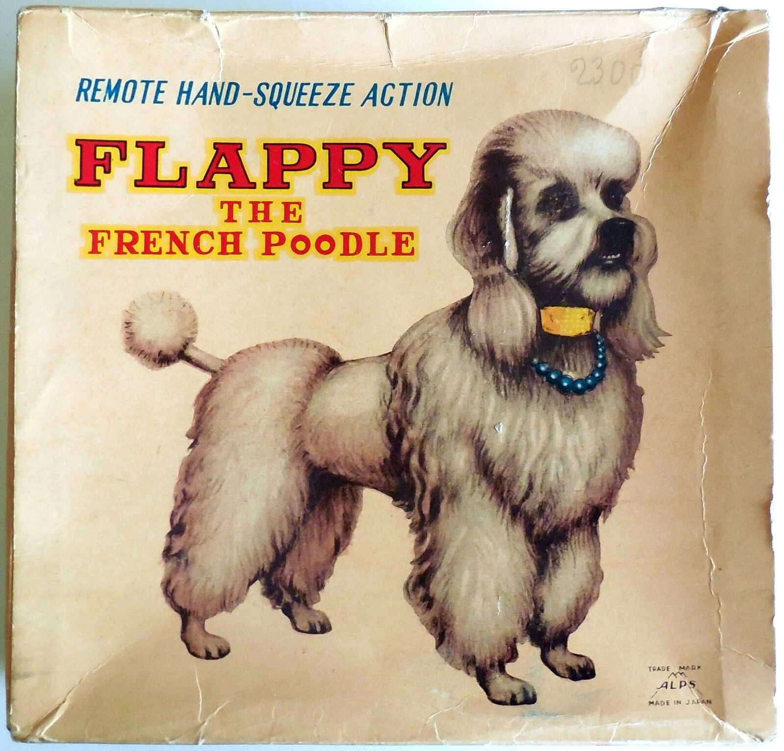 VINTAGE TOY REMOTE HAND SQUEEZE ACTION FLAPPY THE FRENCH POODLE ALPS JAPAN 50s