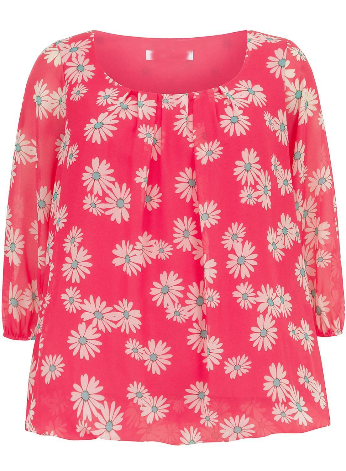 EVANS New Plus Size Pink Ivory Floral Flower Chiffon Top Blouse Size 16-22