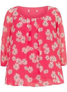 NEW-EVANS-UK-22-24-PINK-FLORAL-BUBBLE-PLUS-SIZE-TOP-TUNIC-BLOUSE