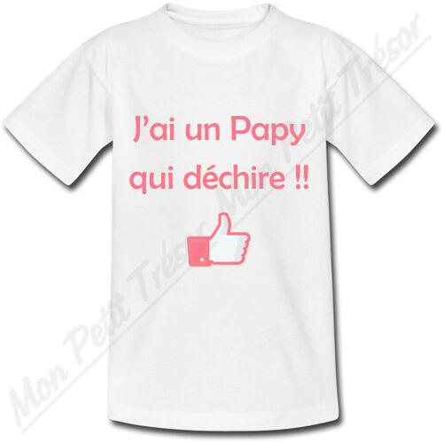 cadeau de naissance 2 couleurs grand-père T-shirt Bébé J/'ai un Papy qui déchire