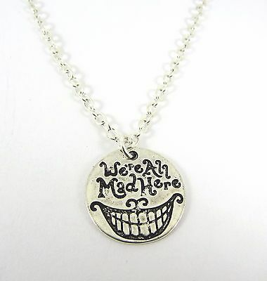 100% QualitäT Alice In Wonderland We're All Mad Here Pendant Silver Necklace New In Gift Bag