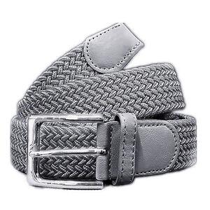 Unisex flechtgürtel Elastici Donna Uomo Cintura Intrecciato è grigio scuro  </span>