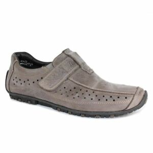 d7f54915f1b Rieker Mens (08977-45) Grey leather touch fastening slip-on summer ...