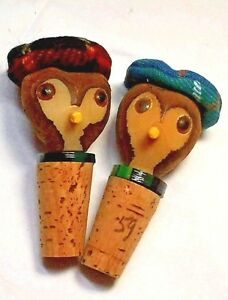 2 Wine Bottle Corks Wood faces with Tam Hat Cork Bottom 3 1/4 Inches Boxed