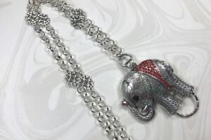 Sparkly-Red-Elephant-Lanyard-Silver-Chain-Badge-ID-Holder-Breakaway-Option