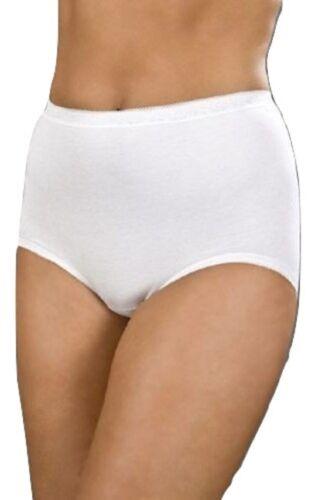 Women/'s La Marquise Plain Cotton High Waist Maxi Briefs 3 Pk Black White Skin