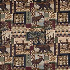 Aspen Moose Bear Deer in Woods Pine Lodge Cabin Theme Tapestry Upholstery Fabric