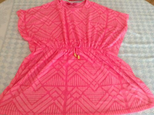 girls beach cover up swimsuit kaftan blouse pink poly-cotton 7-8 years NEW TAG