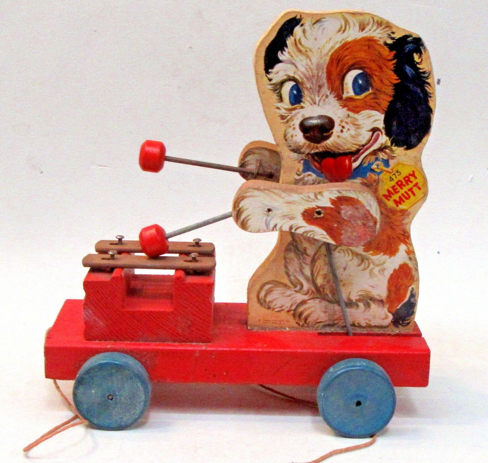 1949 Fisher Price Merry Mutt  473 tire de juguete. sin pérdida de papel